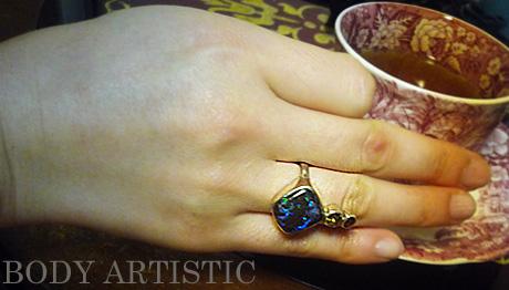 seraphim,bolder opal, yellow,red tourmaline,ring