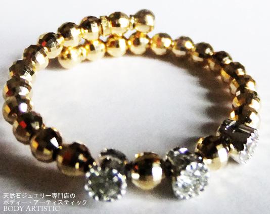K18イエローゴールドダイヤモンドフリーサイズリング