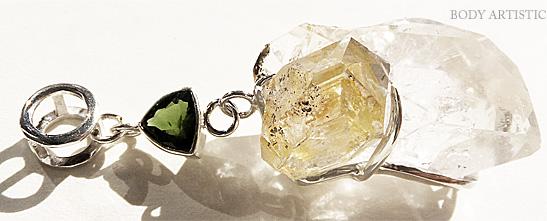 Mitra Bali、ハーキマーダイアモンド、グリーントルマリンペンダント
