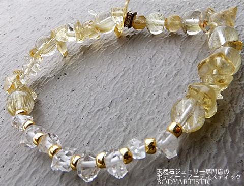 ハーキマーダイヤモンド×ゴールドルチルクオーツ×シトリンブレスレット