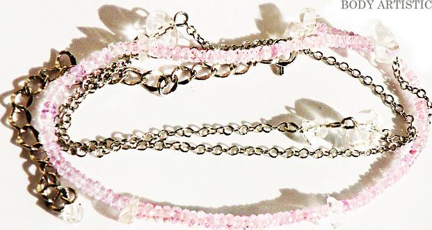 オリジナルネックレス:ピンクサファイヤ、ハーキマーダイアモンド