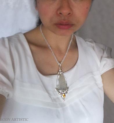 シャンカリから!月の女神に導かれながら、平和で献身の喜びとユーモアに満ちた輝く人生を送る!(Quan Yin ・アゲート×ゴールデントパーズ×ピンクトパーズetcペンダント)