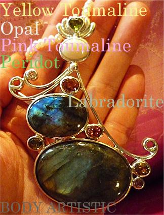 seraphim,labradorite,Pink Tourmaline,Yellow Toumaline,Opal,Peridot pendant