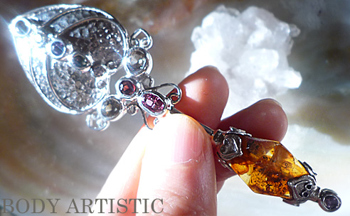 seraphim,Wand:amber,pink red yellow tourmalinependant