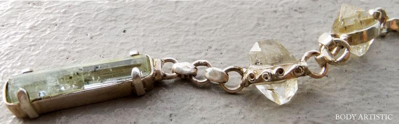 オリジナル アクアマリン、ハーキマーダイヤモンドペンダント